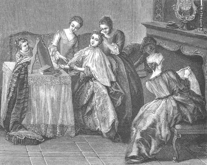 french fashions  the toilette of a pretty w was a sort of intimate reception held in the sanctuary where the coiffure was elaborated the goddess of the sanctuary